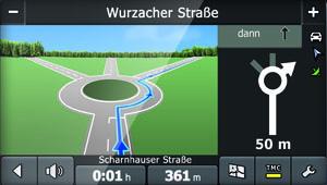 Falk S450 - Reality View im Kreisverkehr